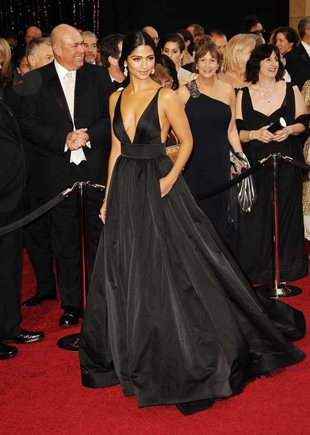 6cee949e69b6b Camila Alves 2011 Oscar Black V-neck Formal Dress Red Carpet Ball Gown