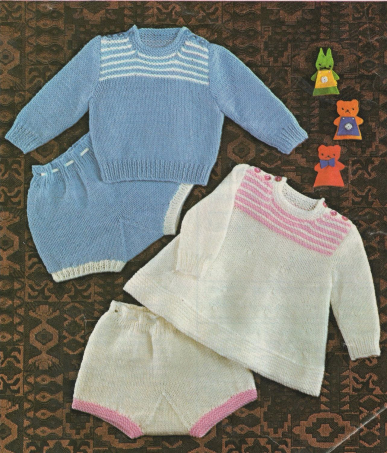 PDF Baby Sweater , Angel Top and Pants Knitting Pattern : Babies 18 ...