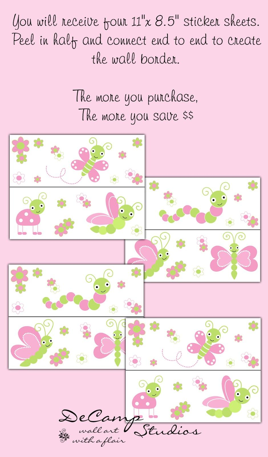 Custom wallpaper border wall art decals and wall murals for baby
