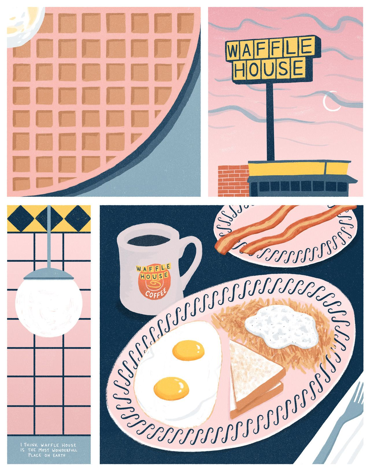 I Think Waffle House Is The Most Wonderful Place On Earth Waffle House Home Art Framed Art Prints