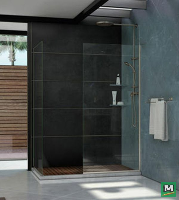 The DreamLine® Linea Frameless Shower Enclosure is a beautiful element that'll enhance your shower experience. This frameless, walk-in design offers an open-entry, doorless style created by two glass panels and Brushed Nickel Finish hardware. Elegant and efficient, the DreamLine® Linea Frameless Shower rewards your shower space with a sense of high-end luxury and modern appeal.