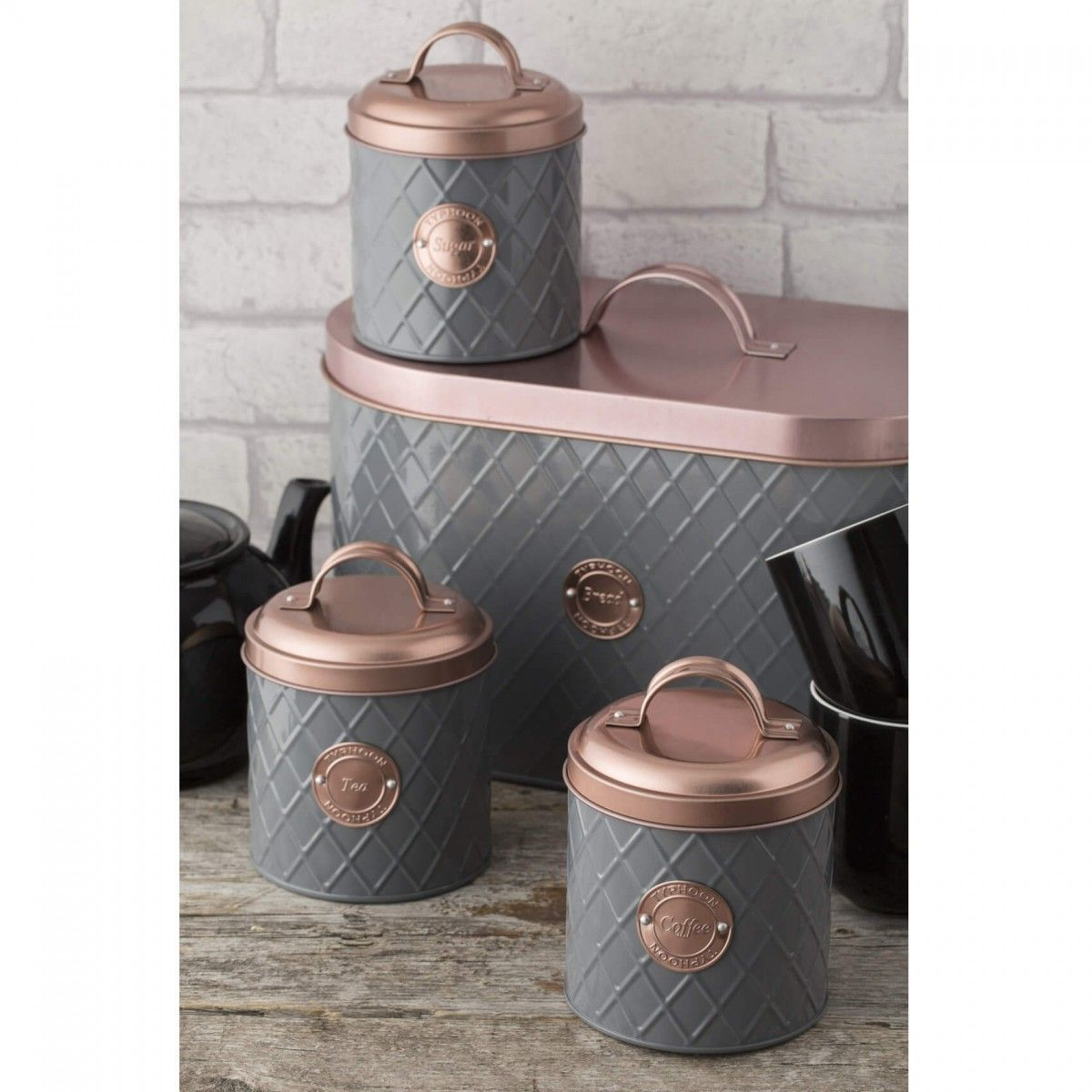 Typhoon Living Copper Lid Tea Coffee Sugar Canisters Bread Bins Grey Kitchen Worktop Storage Collection