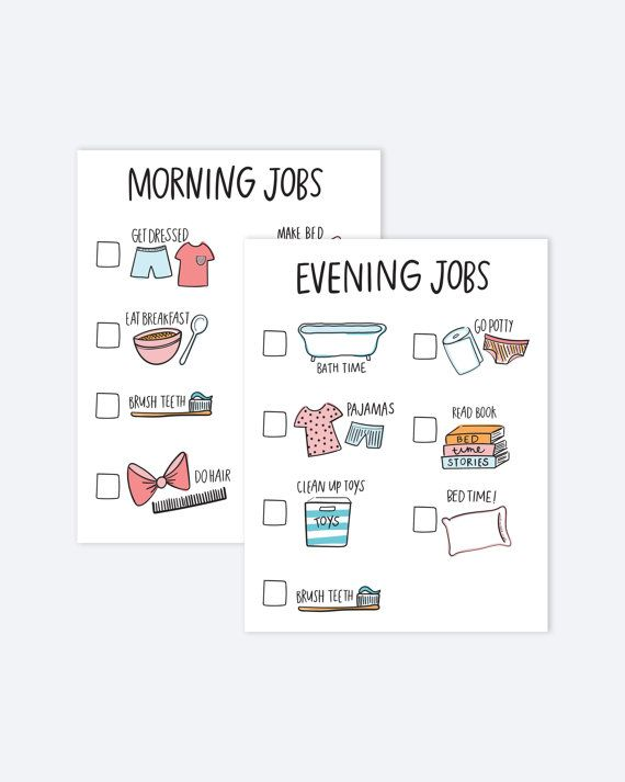Jump start and end your day with these adorable chore charts - kids chart