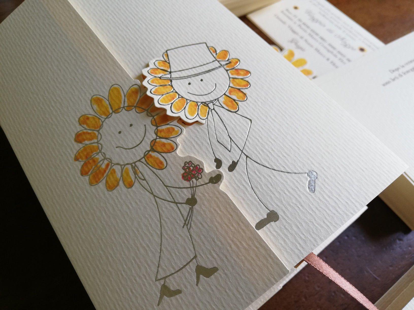 Partecipazioni Matrimonio Con Girasoli : Partecipazioni di nozze con girasoli chiusura ad incastro e