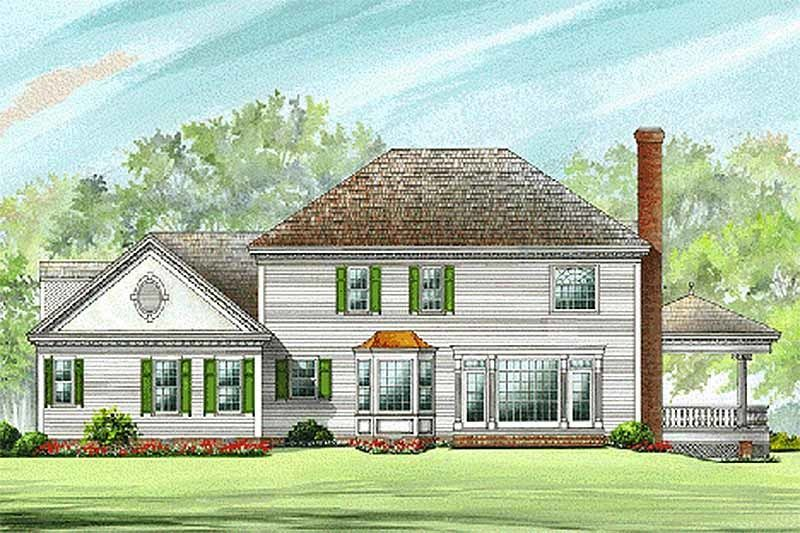 Colonial Style House Plan - 4 Beds 3.50 Baths 3359 Sq/Ft Plan #137-119 Exterior - Rear Elevation - Houseplans.com