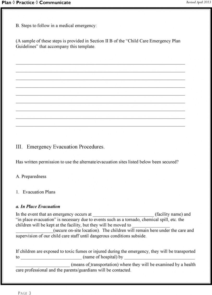 Get Our Image of Child Care Disaster Plan Template for