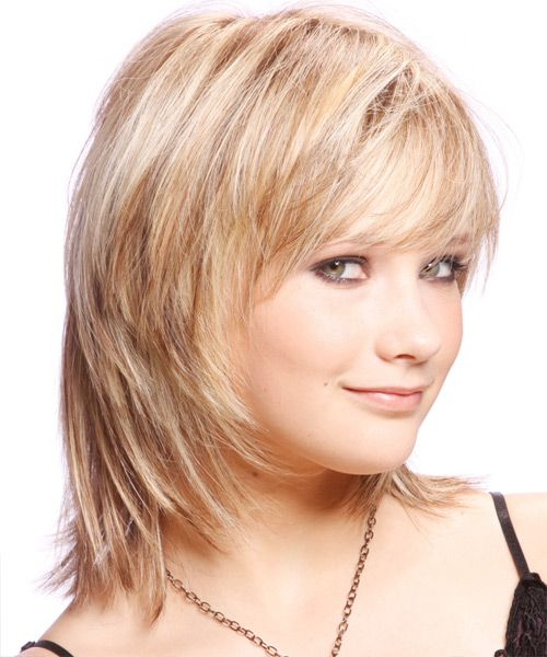 Medium Straight Casual Hairstyle With Side Swept Bangs