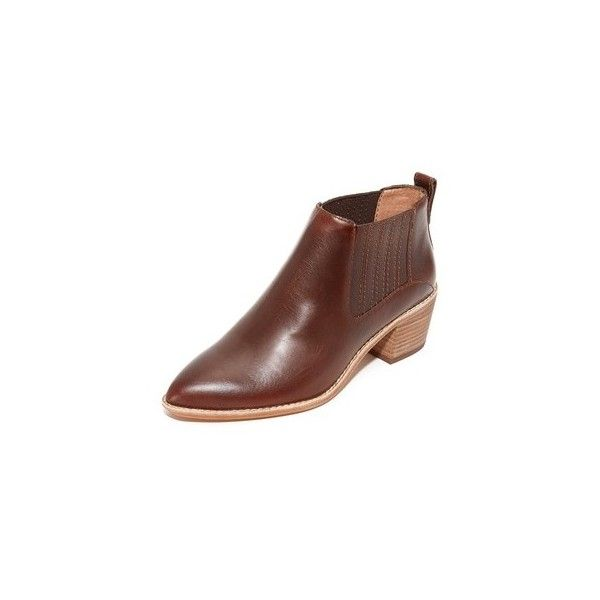 Madewell Raleigh Booties (290 CAD) ❤ liked on Polyvore featuring shoes, boots, ankle booties, cherry wood, stacked heel booties, pointed toe leather boots, stacked heel boots, pointed toe boots and leather boots