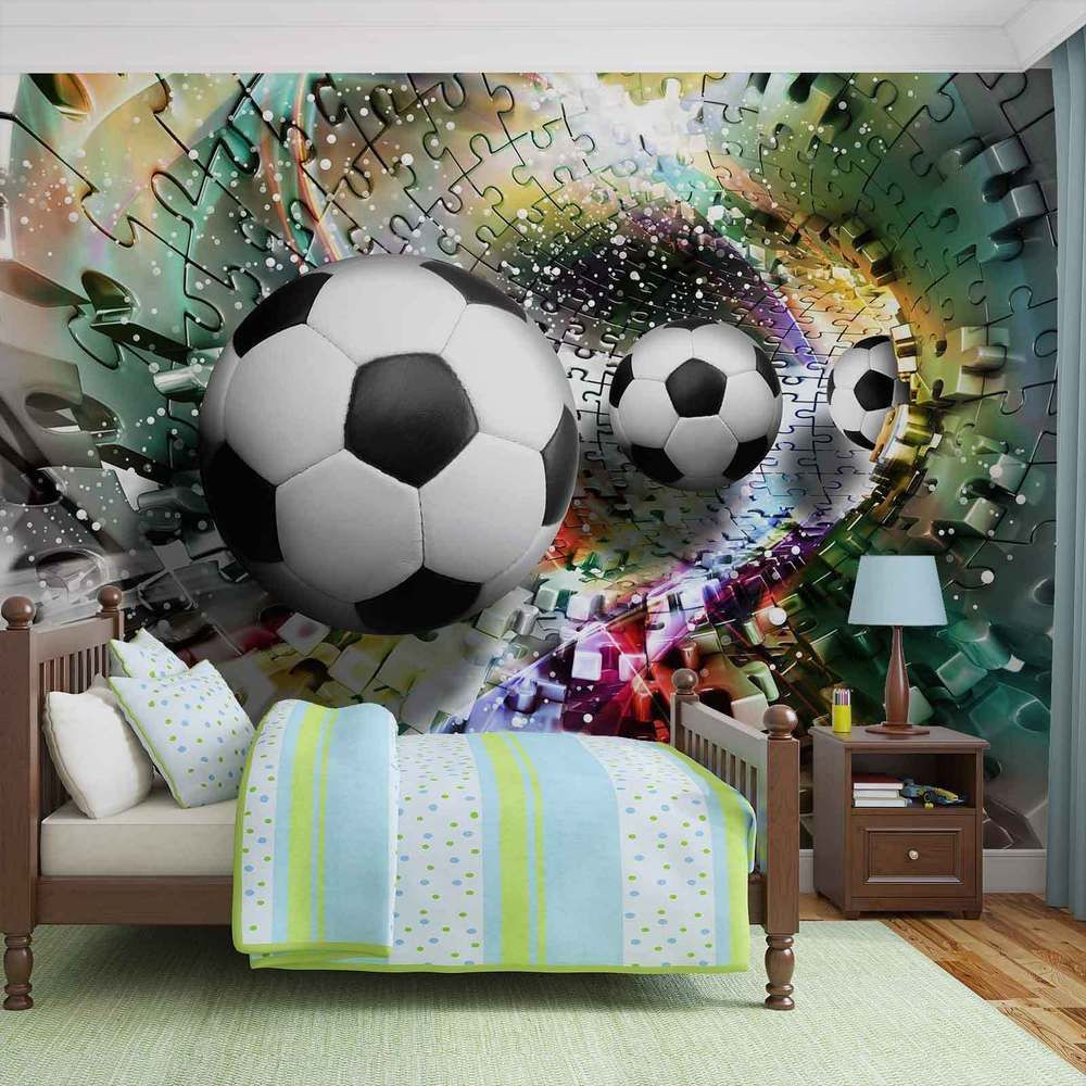 Wall Mural Photo Wallpaper Xxl Colorful Puzzle Football