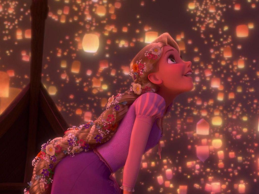 tangled- rapunzel finally sees the floating lanterns. description