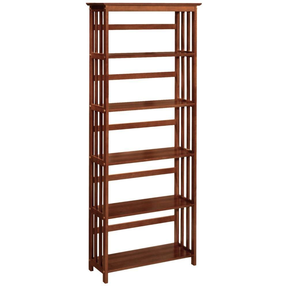 Home Decorators Collection Mission Style 295 In W Walnut 5 Shelf Bookshelf 2649740850 At The Depot