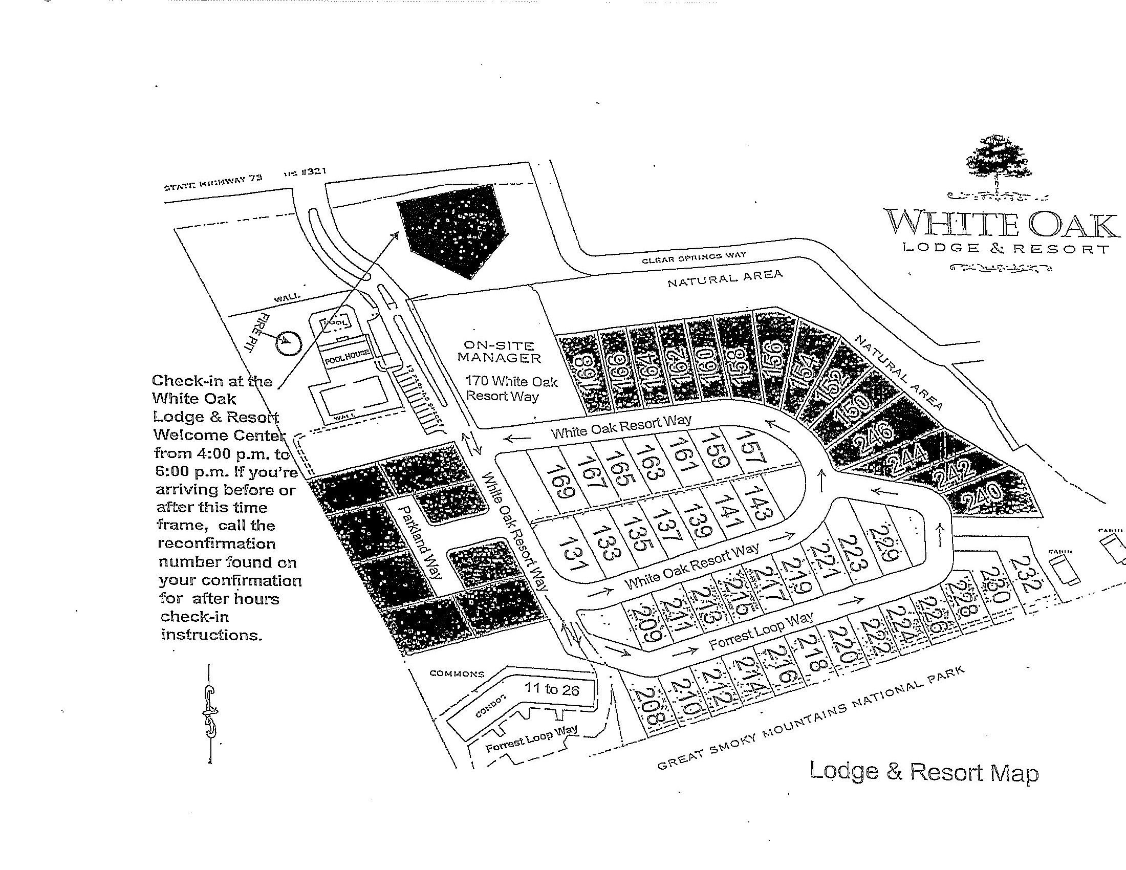 White Oak Lodge And Resort Property Map