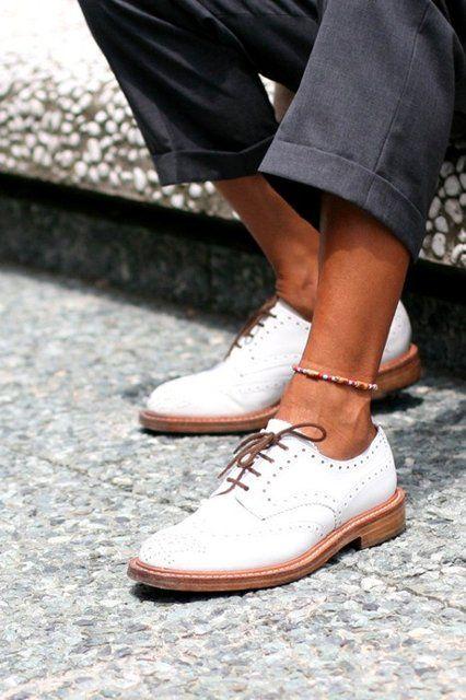 White Wingtip Oxford Shoes   Zapatos