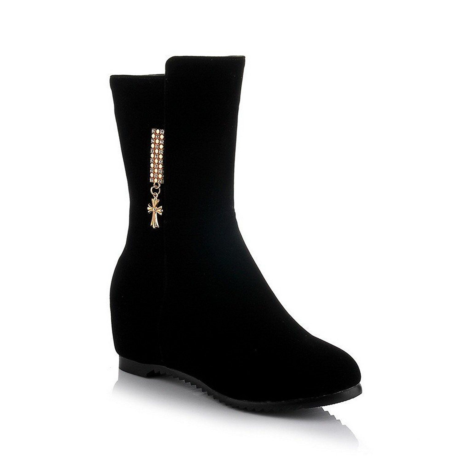 Voguezone009 Women S Round Closed Toe Kitten Heels Frosted Solid Mid Top Boots Startling Review Availab Boots Kitten Heel Boots Women S Over The Knee Boots