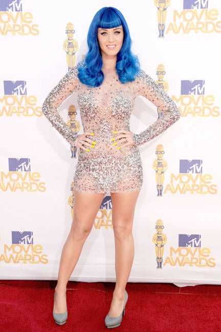 Katy Perry in Shocking Smurf BLUE