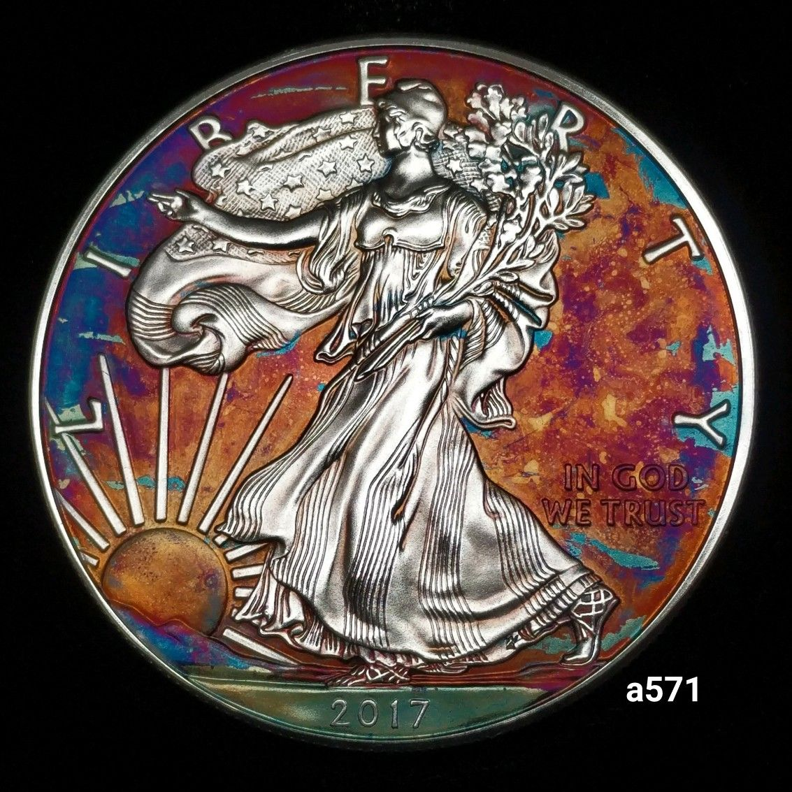 Rainbow Toned Silver American Eagle Coin 1 Troy Ounce Fine Silver Uncirculated High Grade Artistic Toning Eagle Coin Silver Eagle Coins American Silver Eagle
