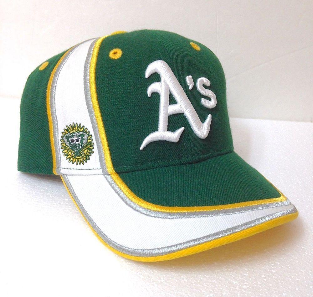 49c204380 Rare Vtg New Era OAKLAND A's HAT Green White Stripe Athletics Curved ...