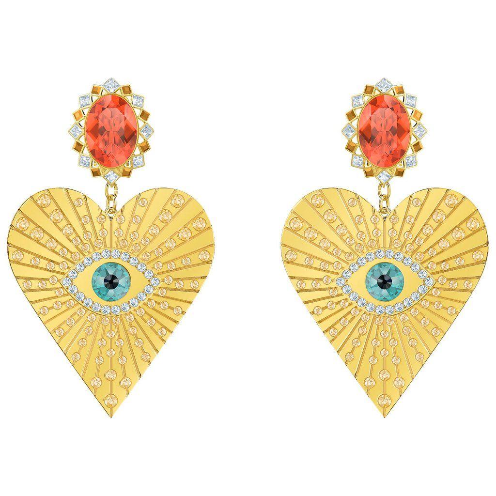 6f7d6747eb064 Swarovski Lucky Goddess Heart Clip Earrings, Multi-colored, Gold ...