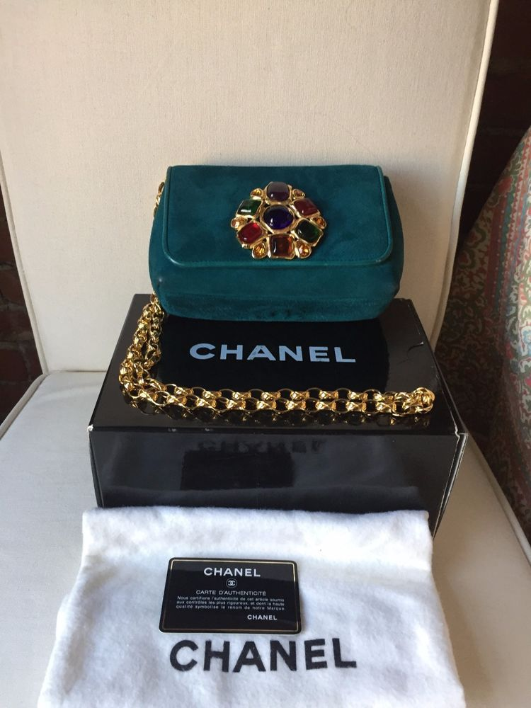 Chanel Extremely Rare Gorgeous Vintage suede bag with perfect Gripoix jewels US $3,000.00