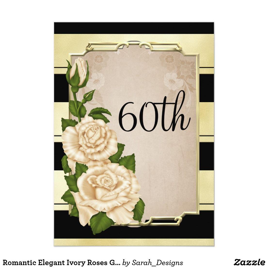 Romantic Elegant Ivory Roses Gold Framed 60th