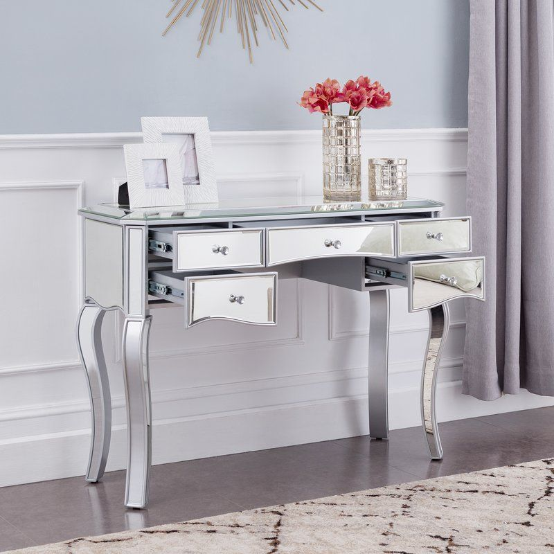 Moyne Mirrored Writing Desk Glass Desk Solid Wood Writing Desk