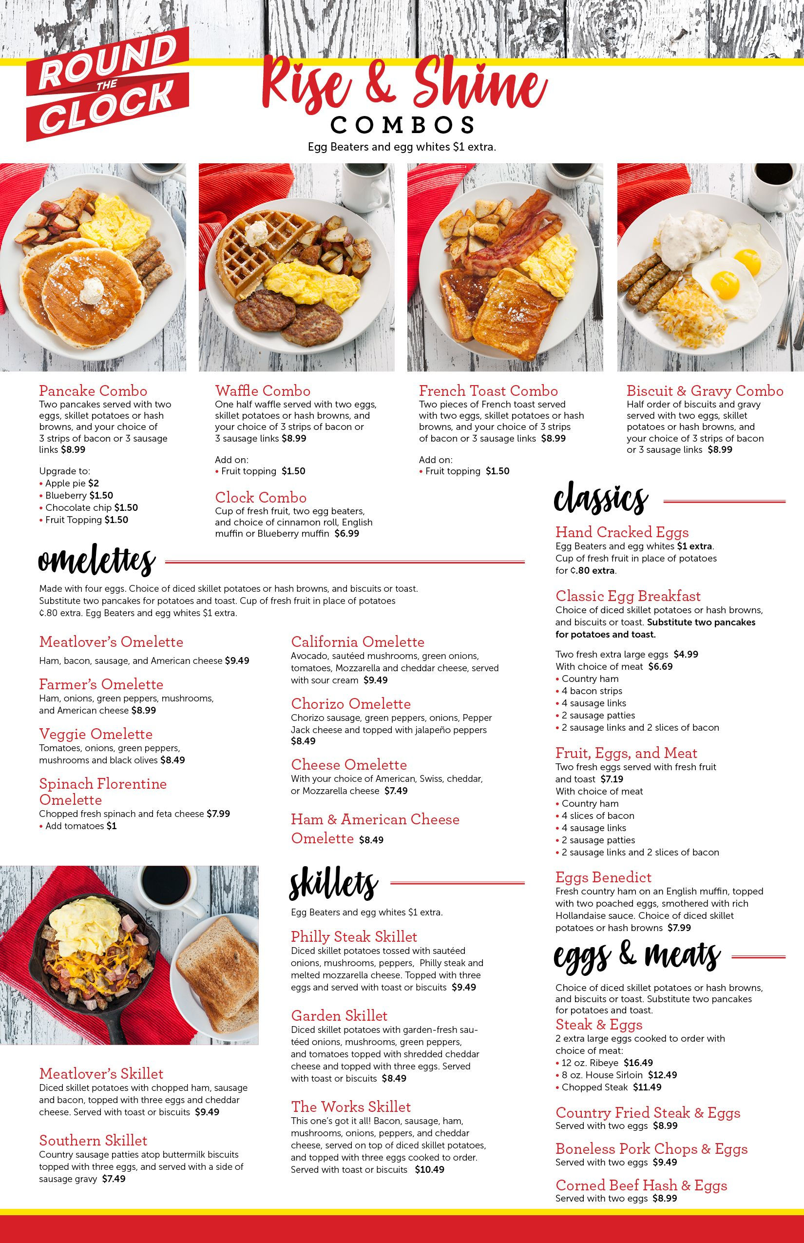 Breakfast Menu Round The Clock Restaurant