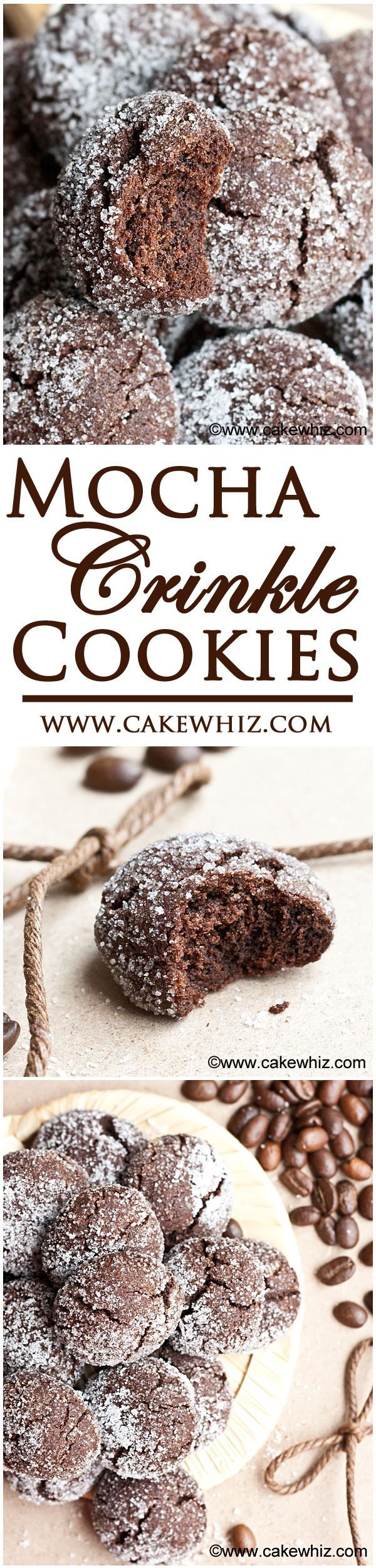 These soft MOCHA CRINKLE COOKIES have a rich chocolate and coffee flavor and crispy, sugary tops! Also, great for gift-giving or just snacking! From cakewhiz.com