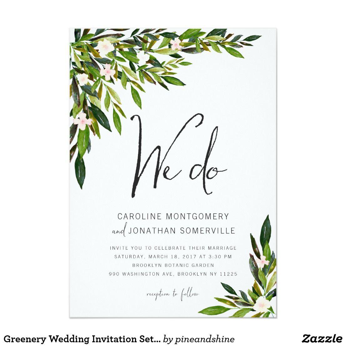 Greenery Wedding Invitation Set Botanical Invite ...