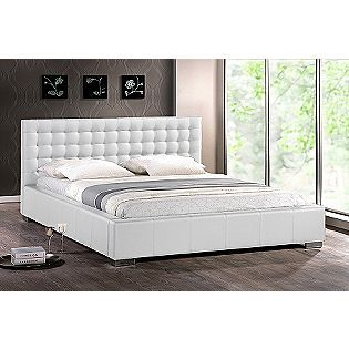 Baxton Madison White Modern Bed With Upholstered Headboard Queen