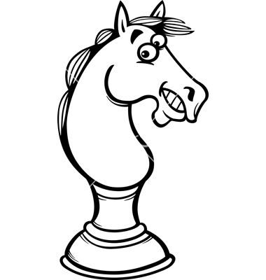 Horse Chess Cartoon Coloring Page Vector Image On Coloring Pages