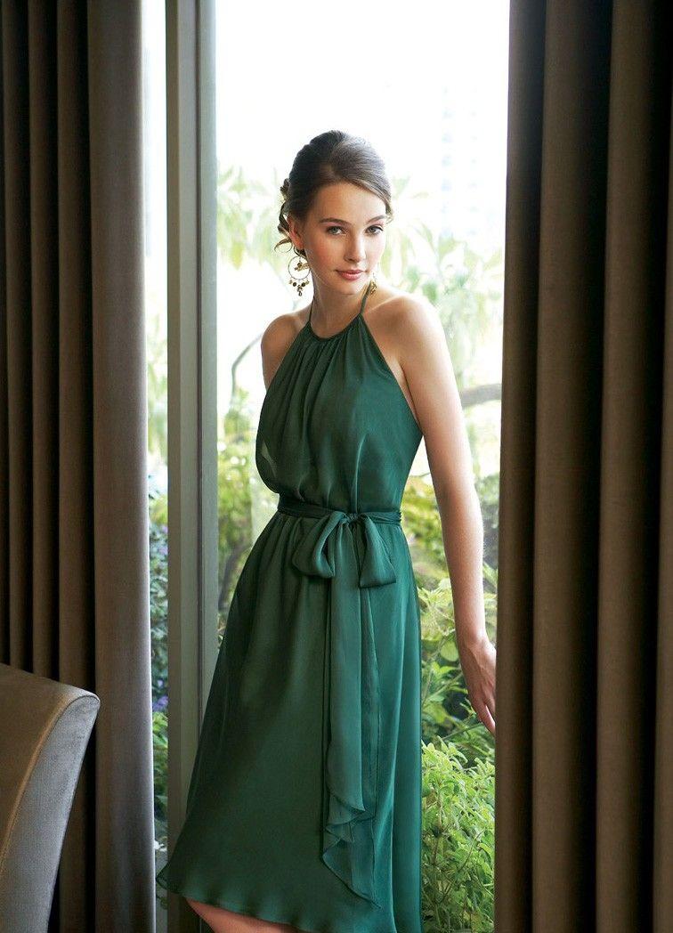 Awesome bridesmaid dress -- Grün Neckholder Chiffon Brautjungfernkleider  Bridesmaid Kleider Mit Schärpe 660f6dedbf