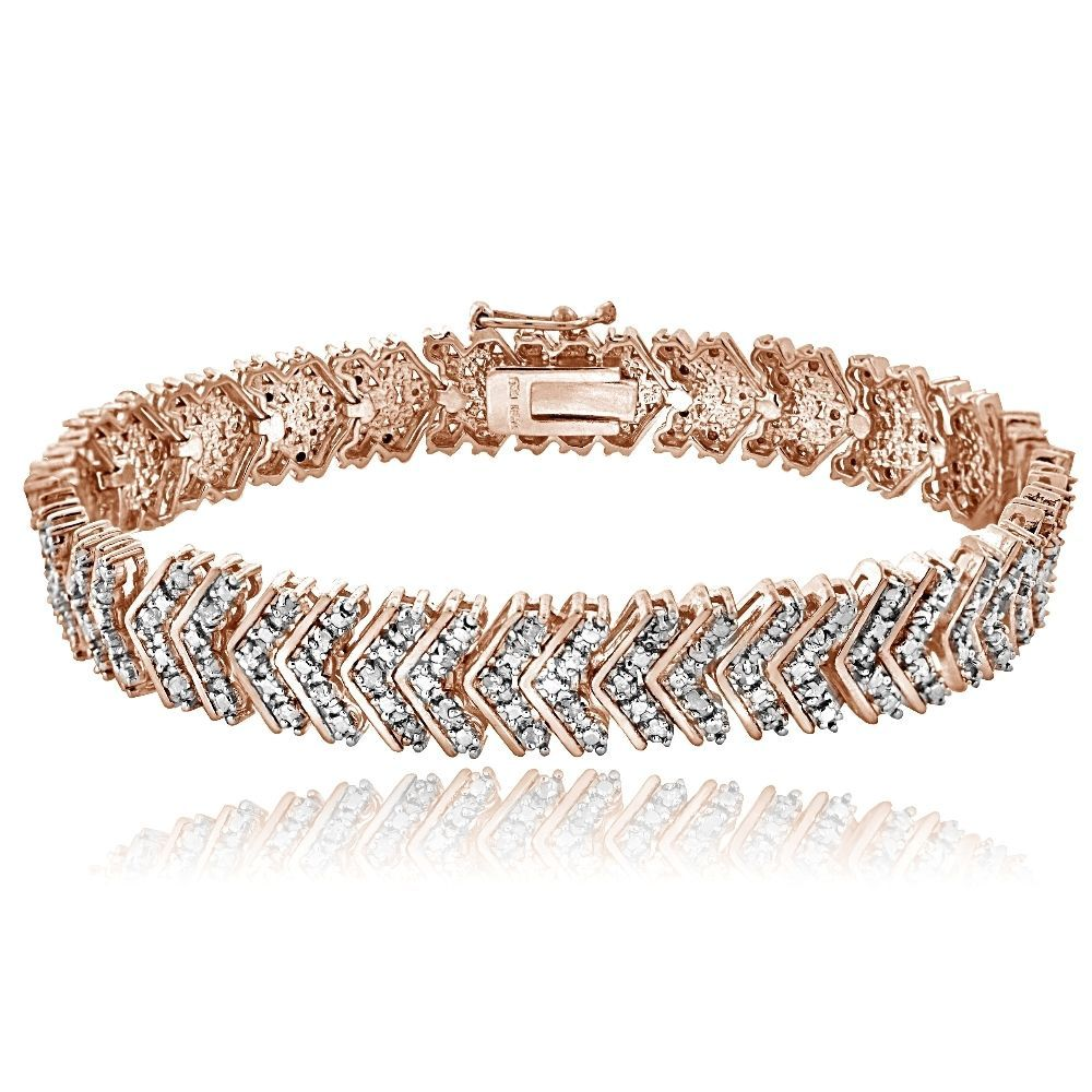 K rose gold brass ct tdw natural diamond chevron bracelet