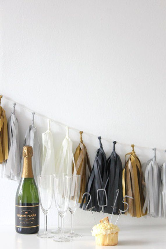 DIY Tassel Garland Kit - Black, White, Gold  Gray  Tuxedo New