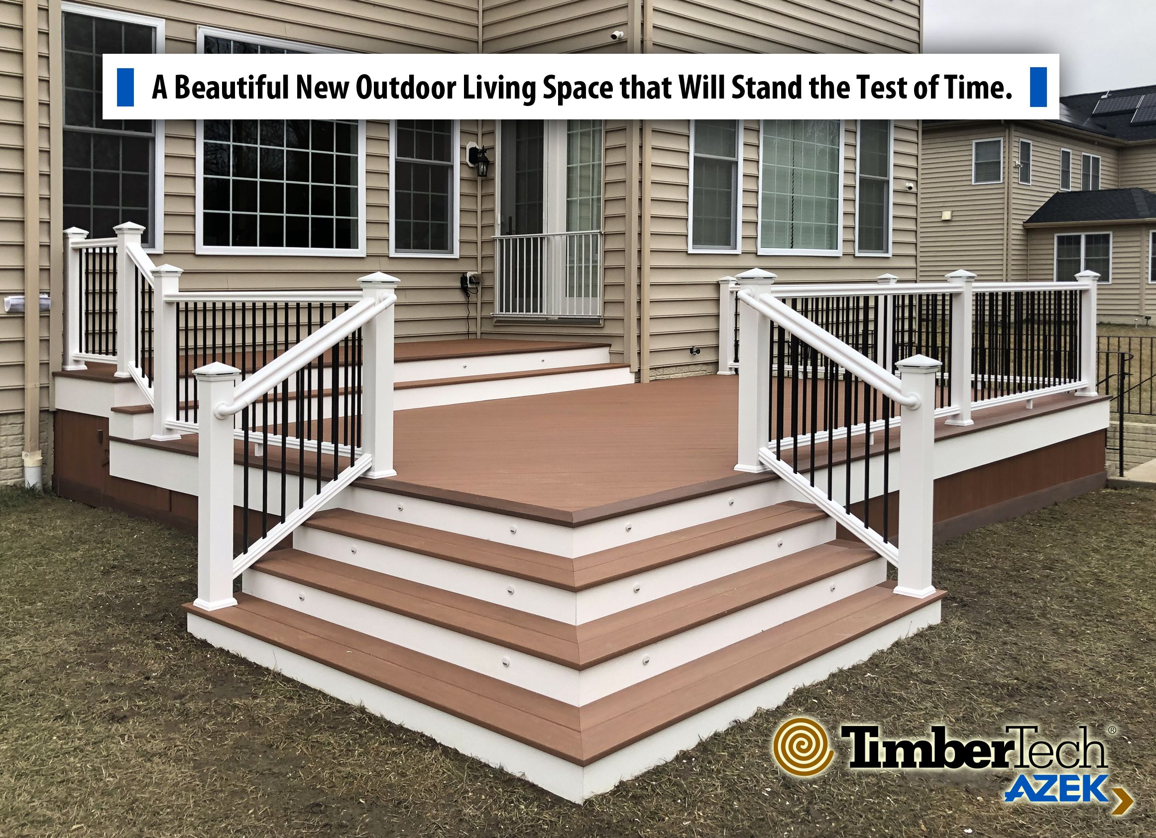 Beautiful New Multi Level Timbertech Azek Vintage Collection Cypress Residential Deck This Deck Features A Cascading Wrap A Deck Azek Decking Deck Landscaping