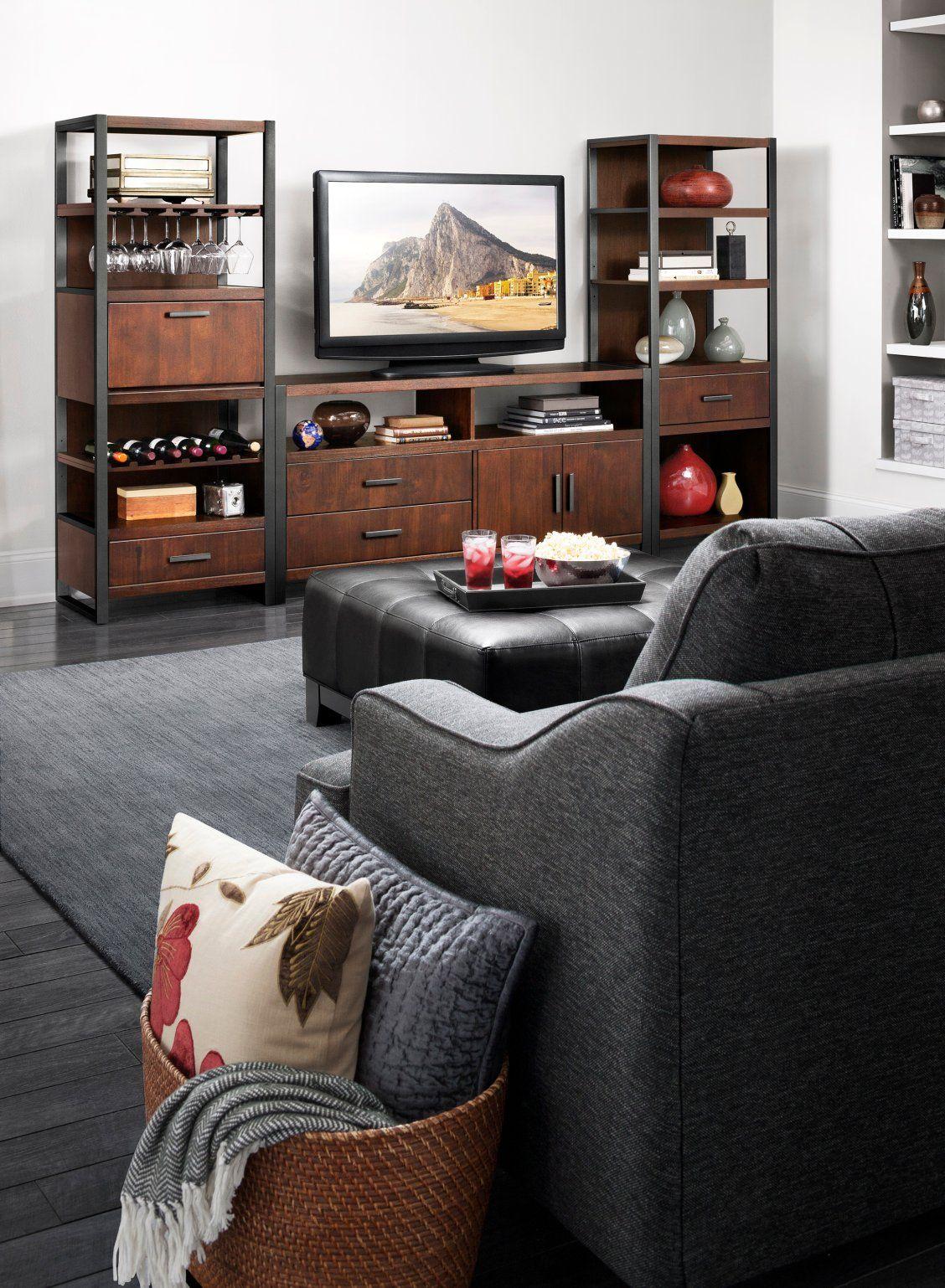 "Living Room Tv Setups: Clemons 3-pc. Entertainment Center W/ 65"" TV Console In"