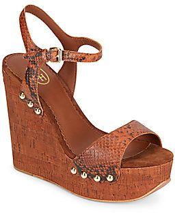 Biba Snake-Embossed Leather & Cork Platform Wedge Sandals