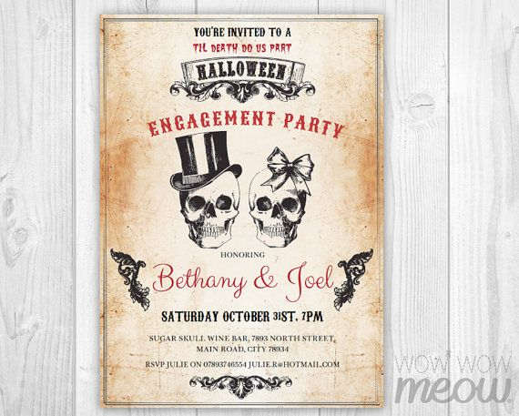 Spooktacular Halloween Wedding Invitations Engagement party