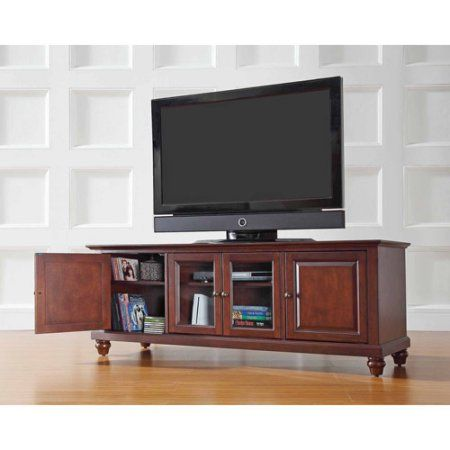 Crosley Furniture Cambridge Low Profile TV Stand for TVs up to 60 inch, Brown