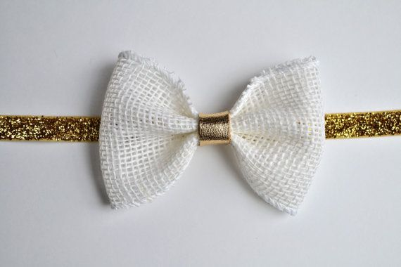 White Burlap Gold Metallic Leather Bow Photo by LittleKateDesigns, $9.00