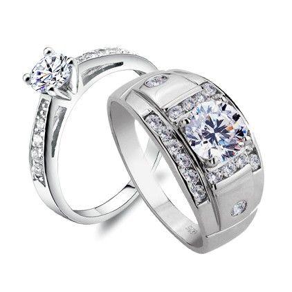 Name Engraved Diamond Sterling Silver Men Women Rings Set Couples