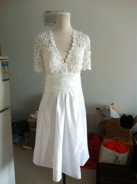 Lace Wedding Dress Plus size Wedding Dress Bridal Gown V neck Taffeta Skirt Knee Length Short Dress Reception Dress Buttons Cap sleeves. $190.00, via Etsy.