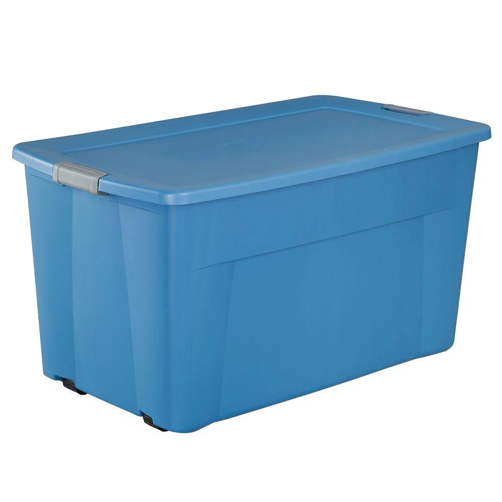 Sterilite 45 Gal Wheeled Latching Storage Bin In Lapis Blue 19481004 The Home Depot Plastic Container Storage Storage Bins Plastic Storage Bins