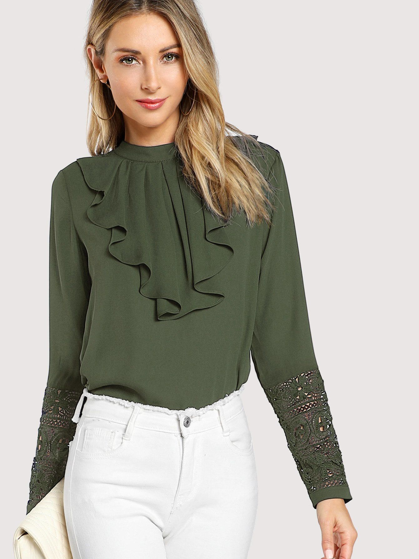 1f9ecb7638e853 Flounce Neck Lace Cuff Top Neck#Flounce#Lace. Classy and Elegant Plain Top  Regular Fit Stand Collar Long Sleeve Army Green Regular Length Flounce