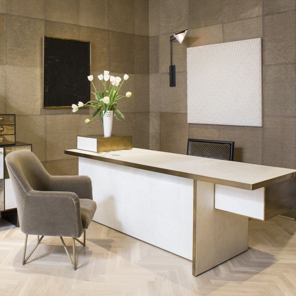 KELLY WEARSTLER   DILLON DESK. Ivory Parchment With A Brass Trim In  Burnished Bronze Patina.