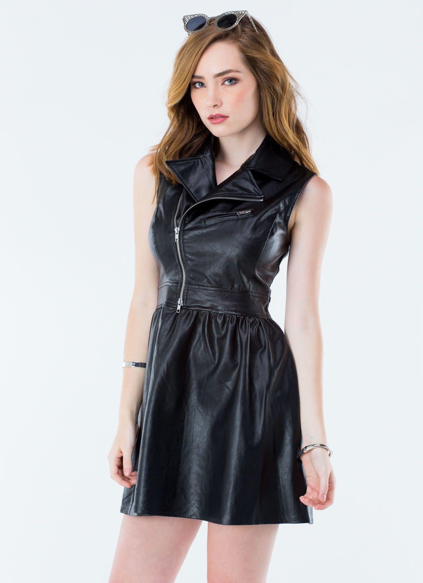 My Leather Jacket FitAndFlare Dress BLACK
