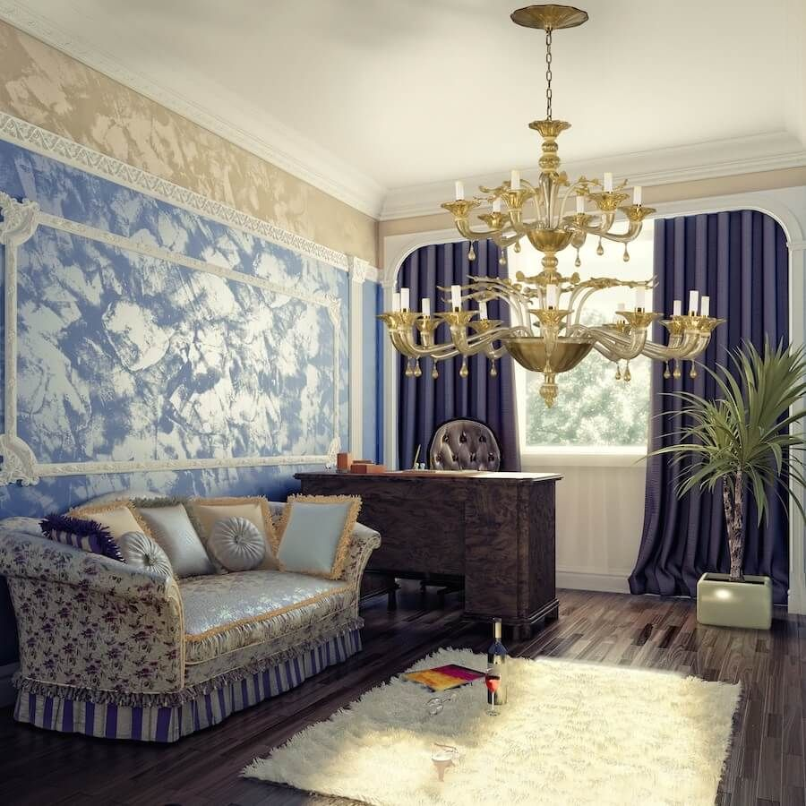 Light Blue Accent Wall: Luxury Living Room, Perfect