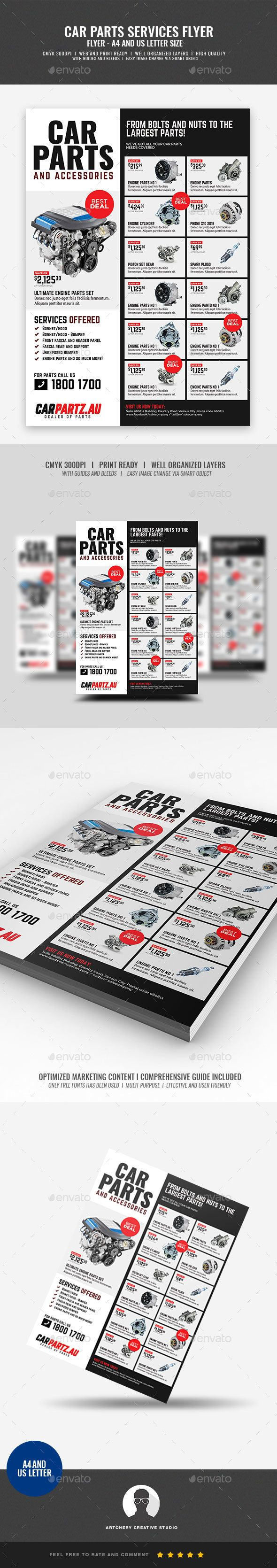 Car And Auto Supply Shop Flyer  Flyer Design Templates Font Logo