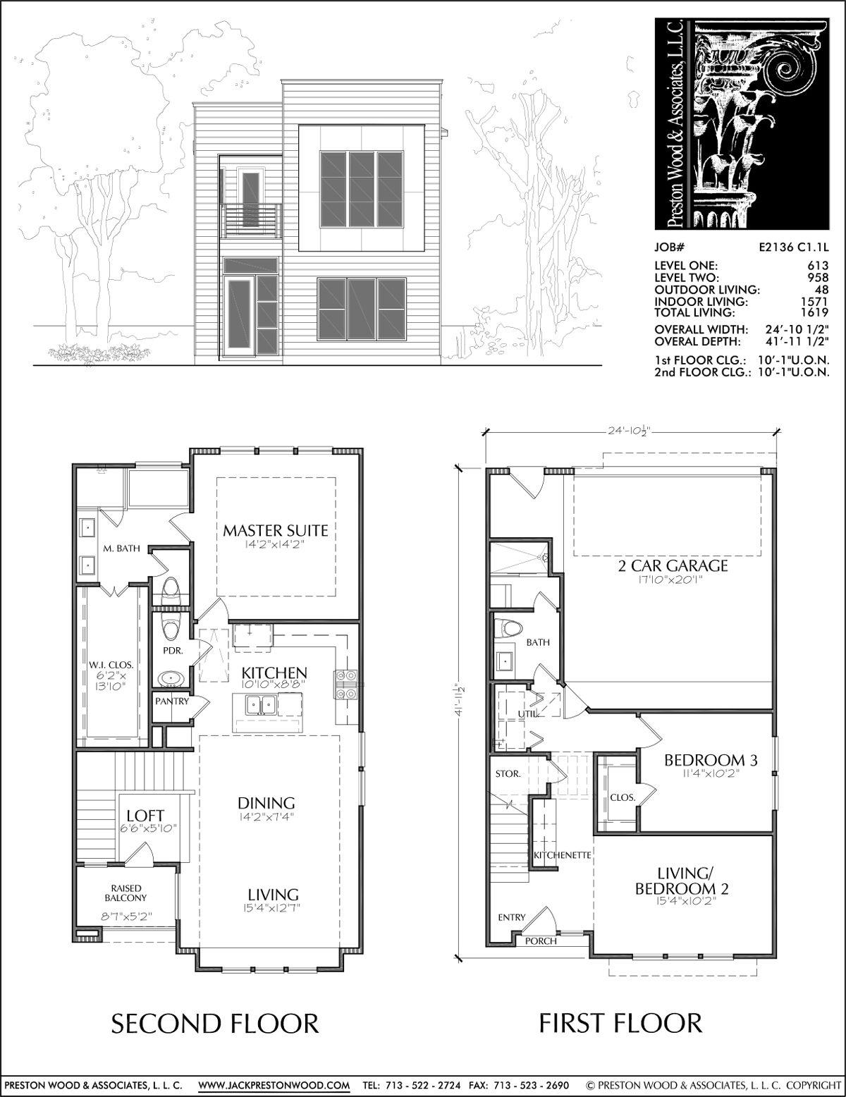 Townhouse Plan E2136 C1 1 Town House Floor Plan Narrow Lot House Plans House Floor Plans