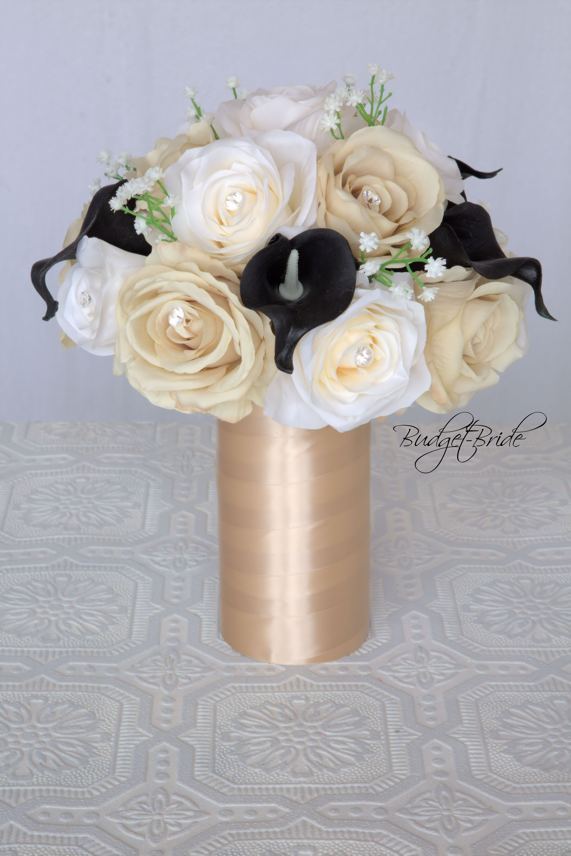 Champagne and black davids bridal wedding flower in cascading champagne and black davids bridal wedding flower in cascading teardrop bouquet izmirmasajfo