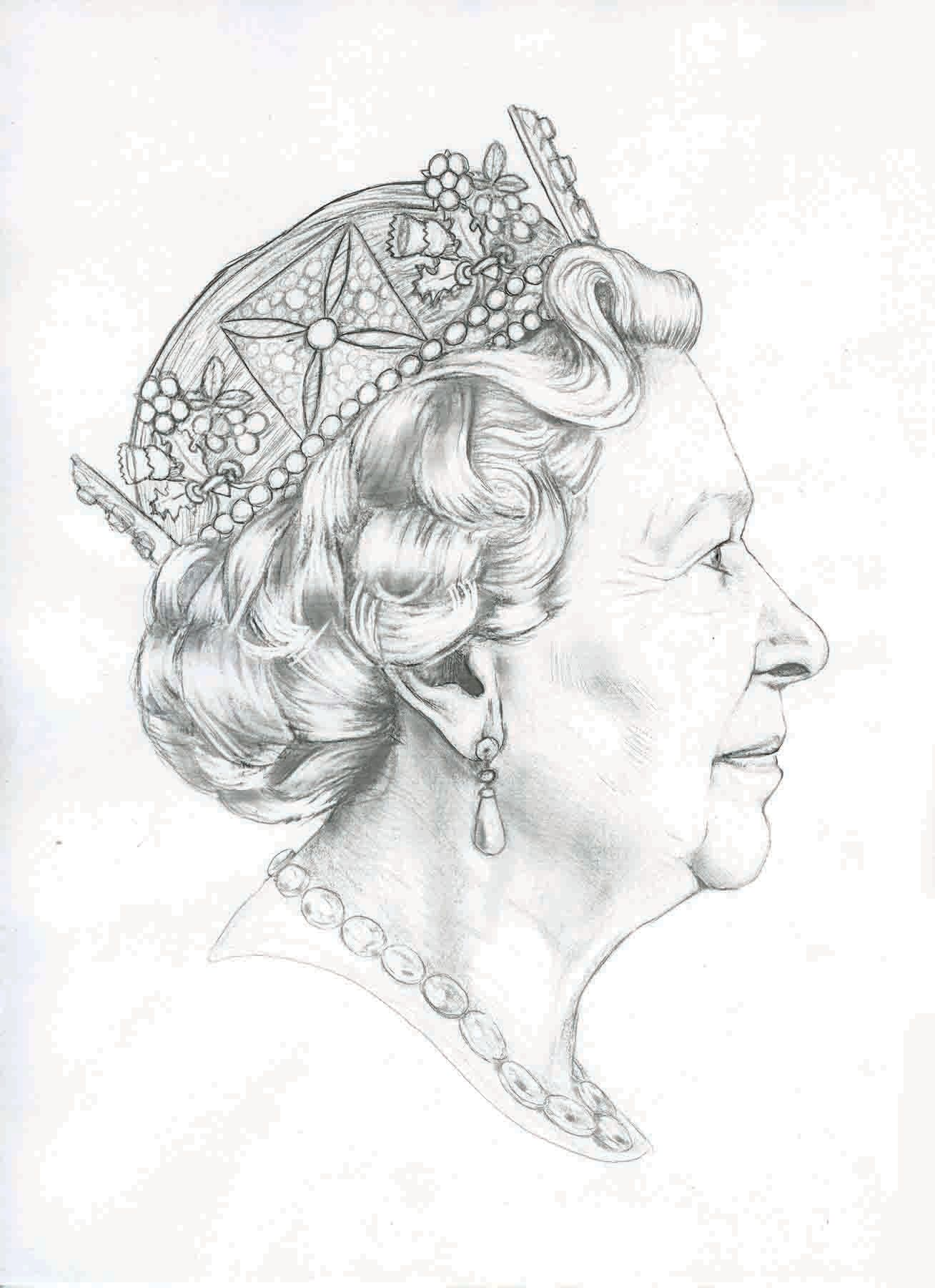 Pencil sketch of queens head google search